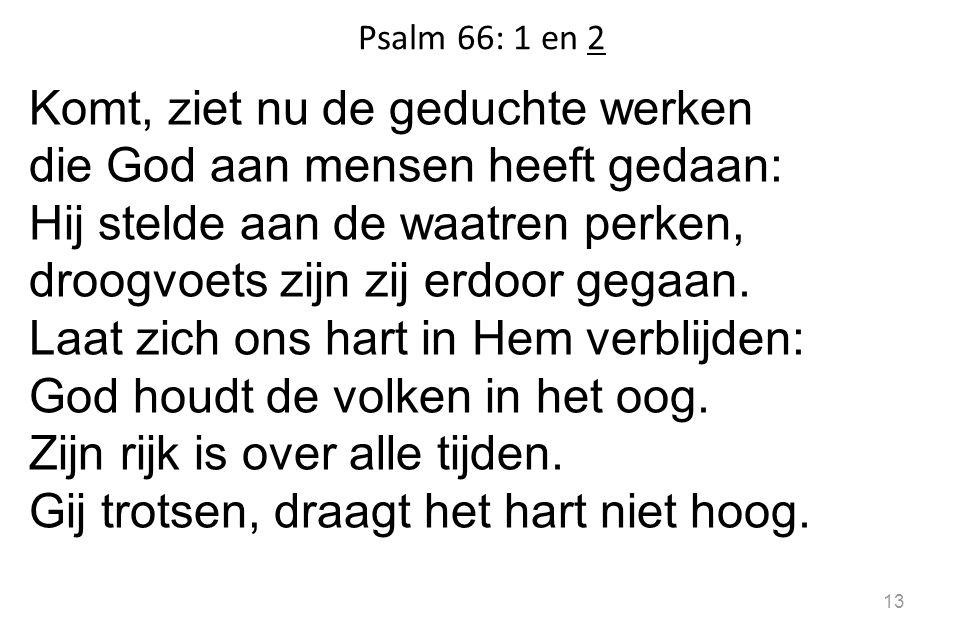 Psalm 66: 1 en 2 Komt, ziet nu de geduchte werken die God aan mensen heeft gedaan: Hij stelde aan de waatren perken, droogvoets zijn zij erdoor gegaan.