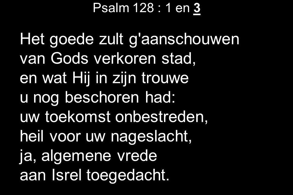 Psalm 128 : 1 en 3 Het goede zult g aanschouwen van Gods verkoren stad, en wat Hij in zijn trouwe u nog beschoren had: uw toekomst onbestreden, heil voor uw nageslacht, ja, algemene vrede aan Isrel toegedacht.