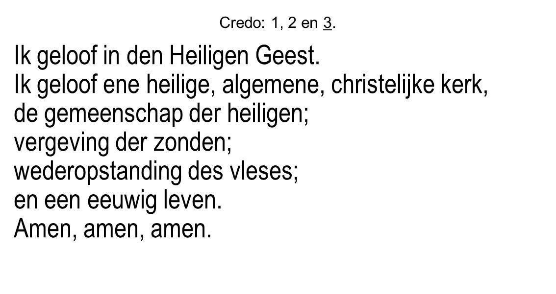 Credo: 1, 2 en 3. Ik geloof in den Heiligen Geest. Ik geloof ene heilige, algemene, christelijke kerk, de gemeenschap der heiligen; vergeving der zond