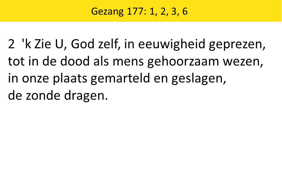 2 'k Zie U, God zelf, in eeuwigheid geprezen, tot in de dood als mens gehoorzaam wezen, in onze plaats gemarteld en geslagen, de zonde dragen. Gezang