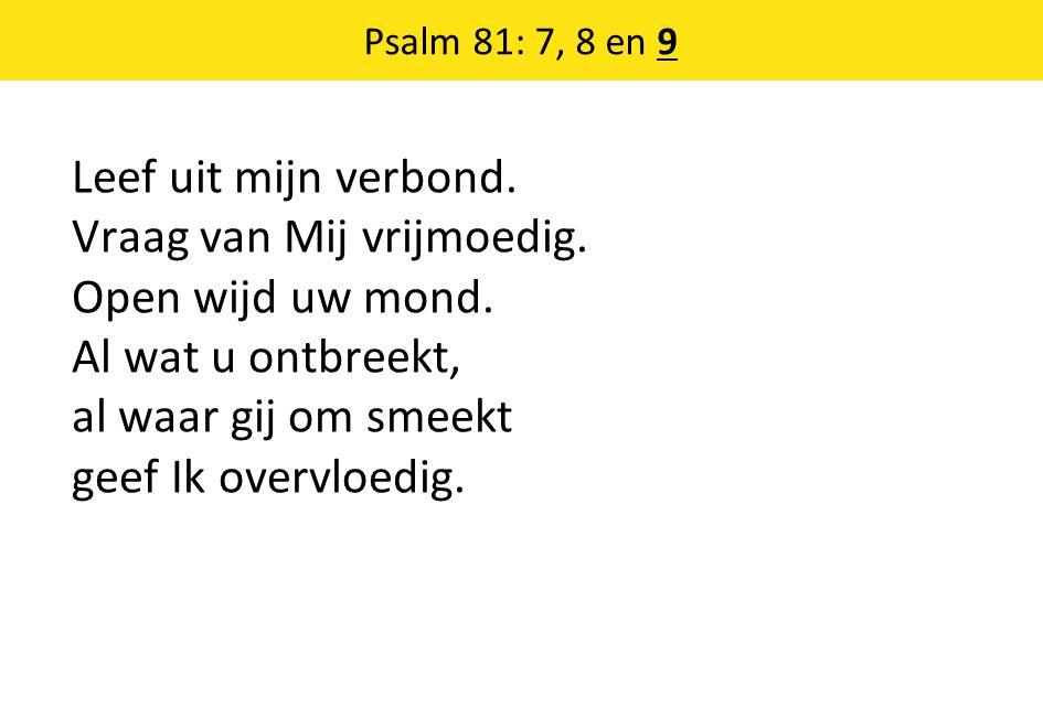 Leef uit mijn verbond. Vraag van Mij vrijmoedig. Open wijd uw mond. Al wat u ontbreekt, al waar gij om smeekt geef Ik overvloedig. Psalm 81: 7, 8 en 9