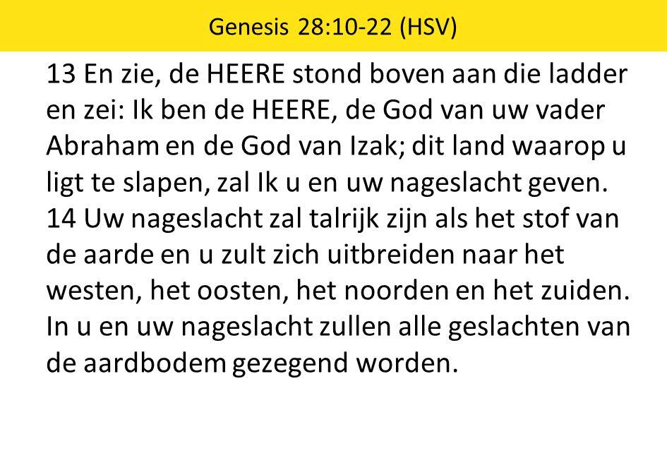 13 En zie, de HEERE stond boven aan die ladder en zei: Ik ben de HEERE, de God van uw vader Abraham en de God van Izak; dit land waarop u ligt te slapen, zal Ik u en uw nageslacht geven.