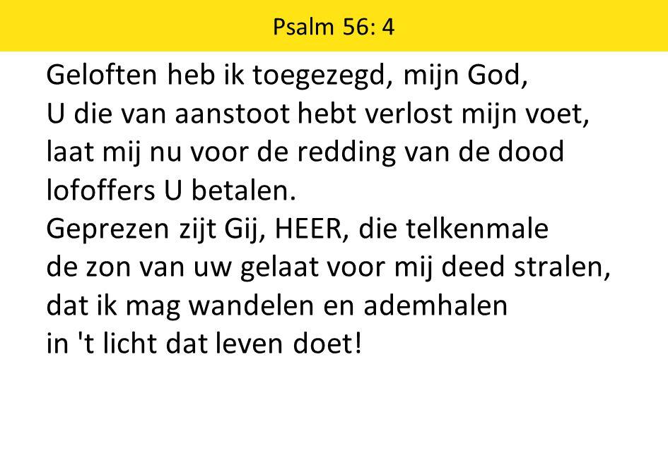Psalm 56: 4 Geloften heb ik toegezegd, mijn God, U die van aanstoot hebt verlost mijn voet, laat mij nu voor de redding van de dood lofoffers U betale