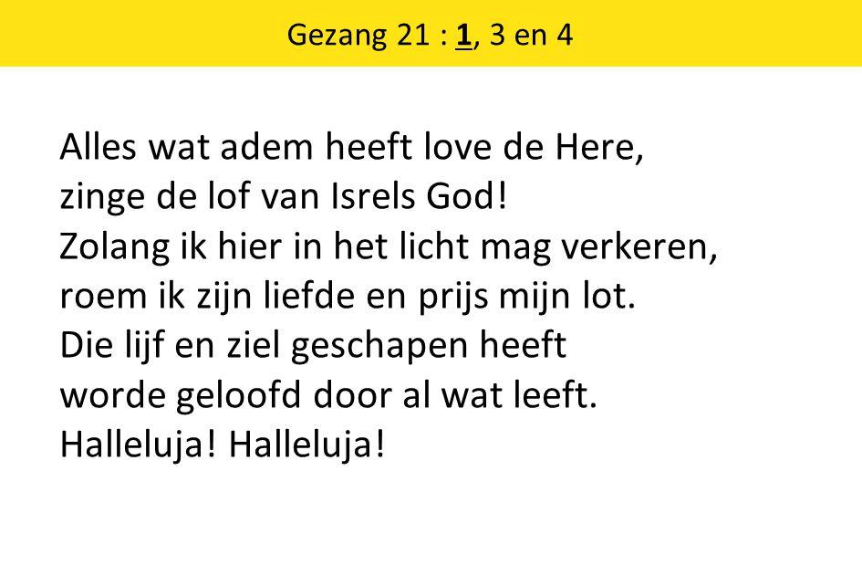 Alles wat adem heeft love de Here, zinge de lof van Isrels God.