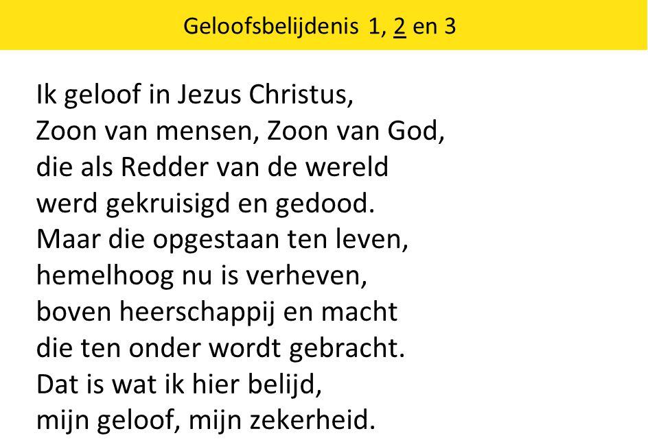 Geloofsbelijdenis 1, 2 en 3 Ik geloof in Jezus Christus, Zoon van mensen, Zoon van God, die als Redder van de wereld werd gekruisigd en gedood.