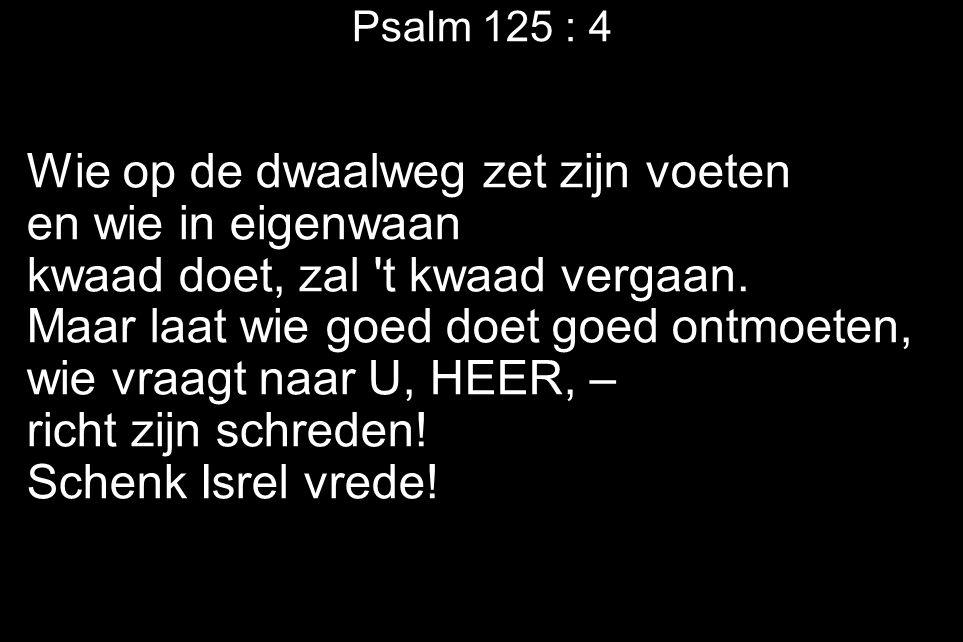 Psalm 125 : 4 Wie op de dwaalweg zet zijn voeten en wie in eigenwaan kwaad doet, zal t kwaad vergaan.