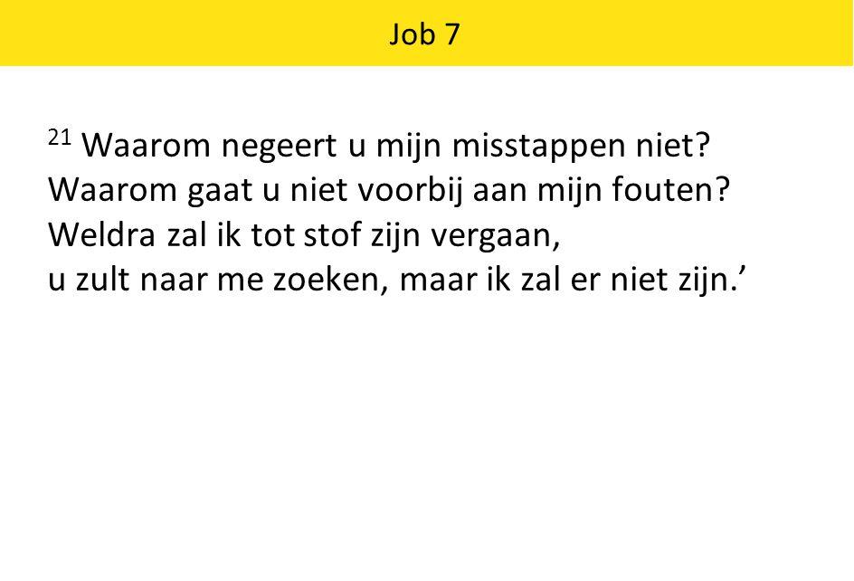Job 7 21 Waarom negeert u mijn misstappen niet.Waarom gaat u niet voorbij aan mijn fouten.