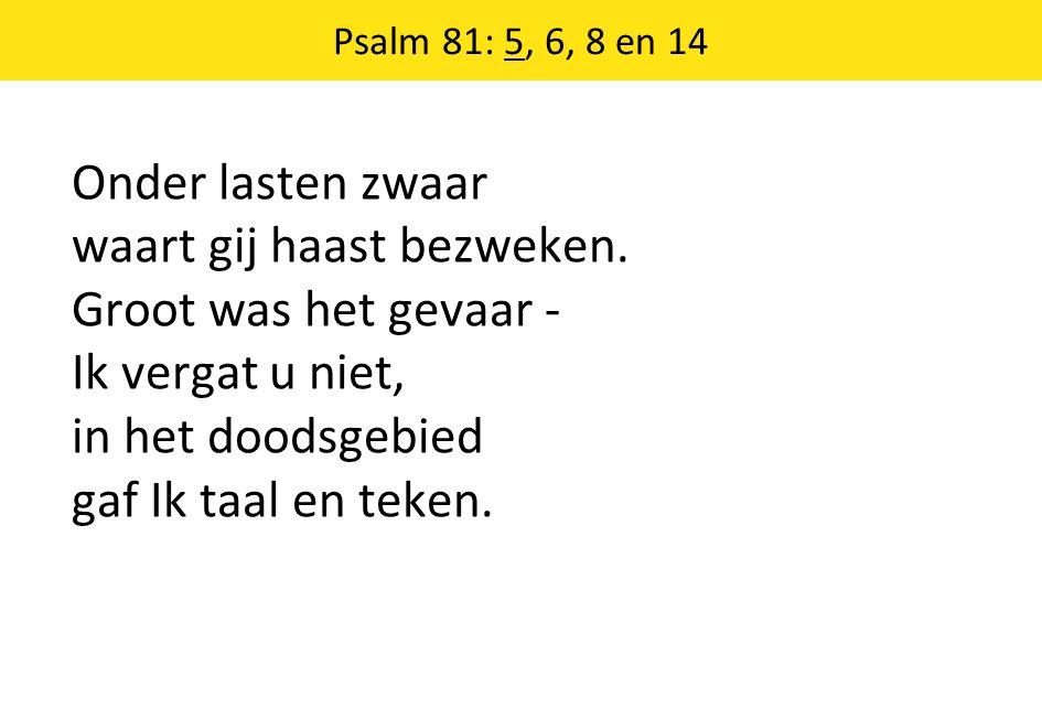 Psalm 81: 5, 6, 8 en 14 Onder lasten zwaar waart gij haast bezweken. Groot was het gevaar - Ik vergat u niet, in het doodsgebied gaf Ik taal en teken.