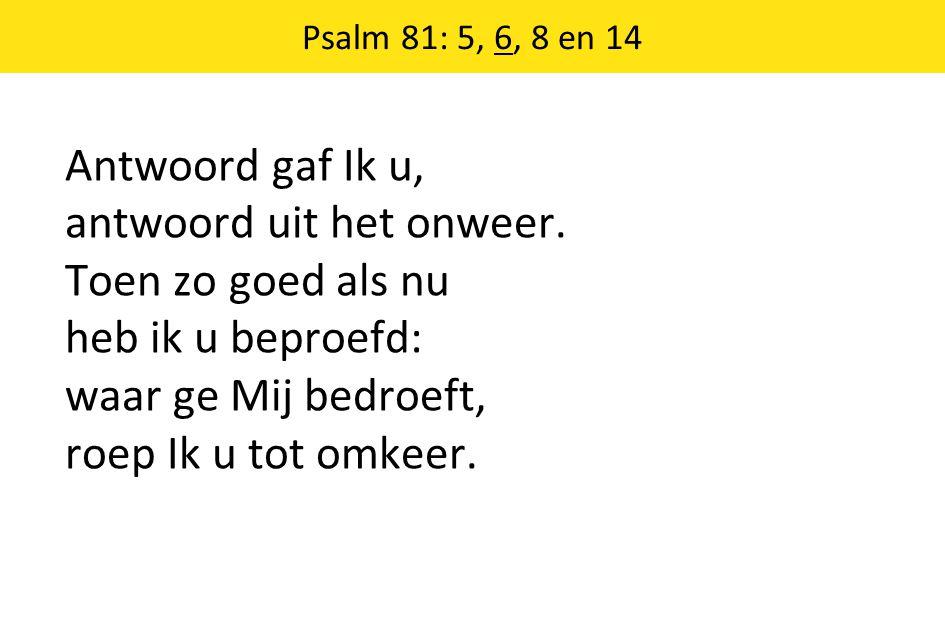 Psalm 81: 5, 6, 8 en 14 Antwoord gaf Ik u, antwoord uit het onweer. Toen zo goed als nu heb ik u beproefd: waar ge Mij bedroeft, roep Ik u tot omkeer.