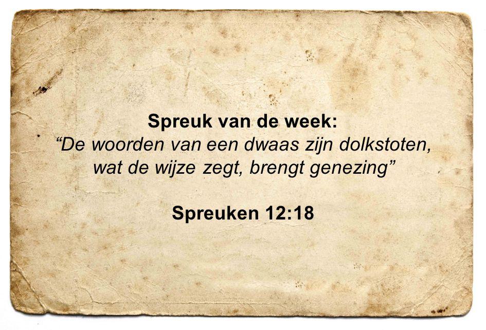 """5 Spreuk van de week: """"De woorden van een dwaas zijn dolkstoten, wat de wijze zegt, brengt genezing"""" Spreuken 12:18"""
