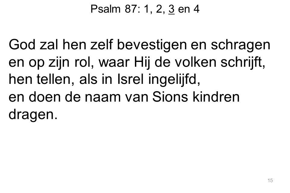 Psalm 87: 1, 2, 3 en 4 God zal hen zelf bevestigen en schragen en op zijn rol, waar Hij de volken schrijft, hen tellen, als in Isrel ingelijfd, en doen de naam van Sions kindren dragen.