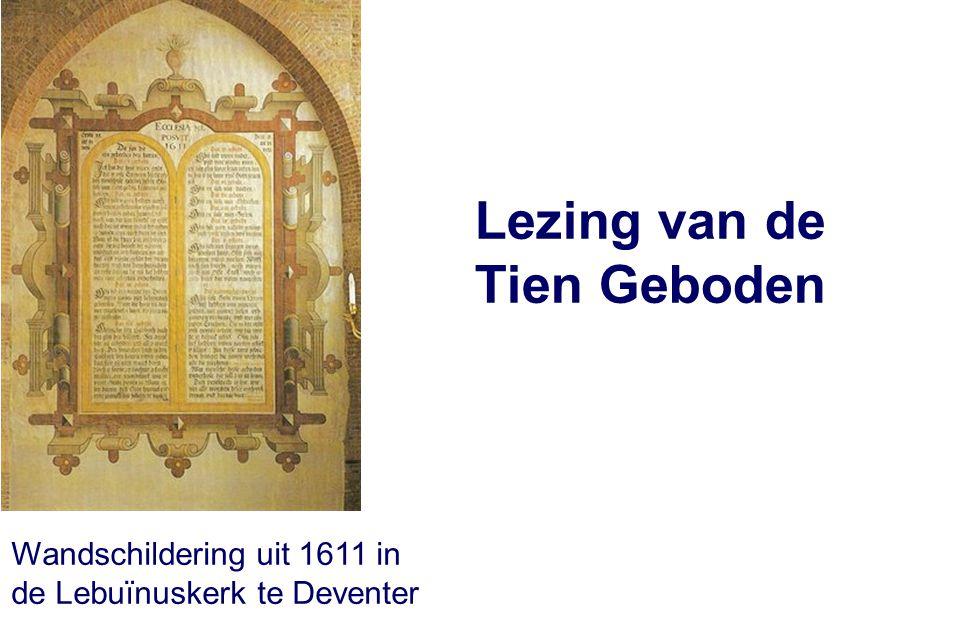 Lezing van de Tien Geboden Wandschildering uit 1611 in de Lebuïnuskerk te Deventer