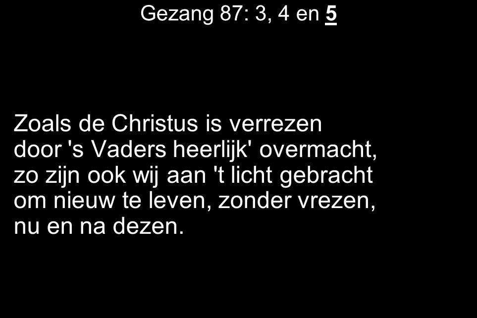 Gezang 87: 3, 4 en 5 Zoals de Christus is verrezen door 's Vaders heerlijk' overmacht, zo zijn ook wij aan 't licht gebracht om nieuw te leven, zonder