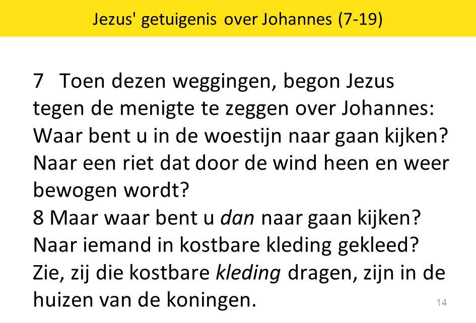 7 Toen dezen weggingen, begon Jezus tegen de menigte te zeggen over Johannes: Waar bent u in de woestijn naar gaan kijken? Naar een riet dat door de w