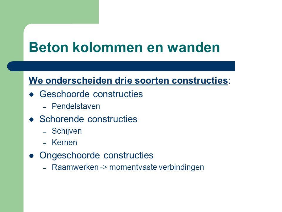 Beton kolommen en wanden We onderscheiden drie soorten constructies: Geschoorde constructies – Pendelstaven Schorende constructies – Schijven – Kernen