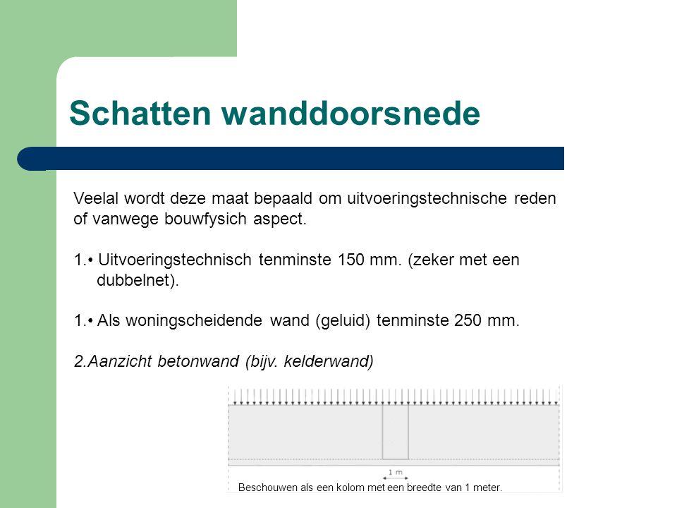 Schatten wanddoorsnede Veelal wordt deze maat bepaald om uitvoeringstechnische reden of vanwege bouwfysich aspect. 1. Uitvoeringstechnisch tenminste 1