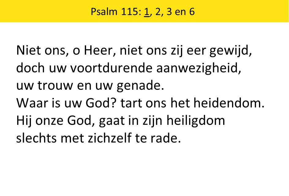 Niet ons, o Heer, niet ons zij eer gewijd, doch uw voortdurende aanwezigheid, uw trouw en uw genade. Waar is uw God? tart ons het heidendom. Hij onze