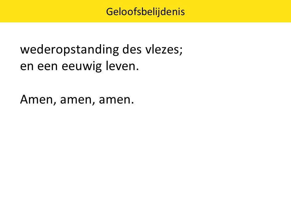 Geloofsbelijdenis wederopstanding des vlezes; en een eeuwig leven. Amen, amen, amen.