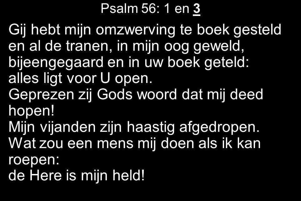 Psalm 56: 1 en 3 Gij hebt mijn omzwerving te boek gesteld en al de tranen, in mijn oog geweld, bijeengegaard en in uw boek geteld: alles ligt voor U open.