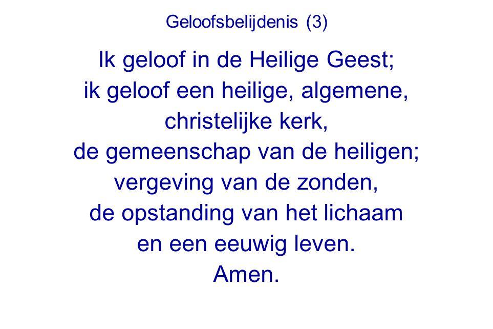 Geloofsbelijdenis (3) Ik geloof in de Heilige Geest; ik geloof een heilige, algemene, christelijke kerk, de gemeenschap van de heiligen; vergeving van de zonden, de opstanding van het lichaam en een eeuwig leven.