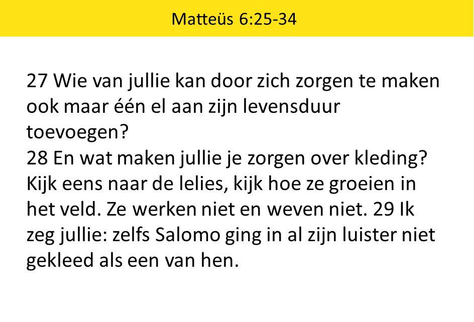 Matteüs 6:25-34 27 Wie van jullie kan door zich zorgen te maken ook maar één el aan zijn levensduur toevoegen? 28 En wat maken jullie je zorgen over k