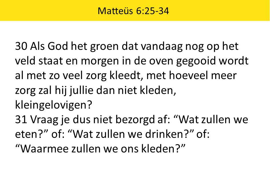 Matteüs 6:25-34 30 Als God het groen dat vandaag nog op het veld staat en morgen in de oven gegooid wordt al met zo veel zorg kleedt, met hoeveel meer