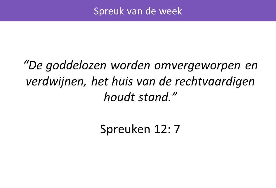 De goddelozen worden omvergeworpen en verdwijnen, het huis van de rechtvaardigen houdt stand. Spreuken 12: 7 Spreuk van de week