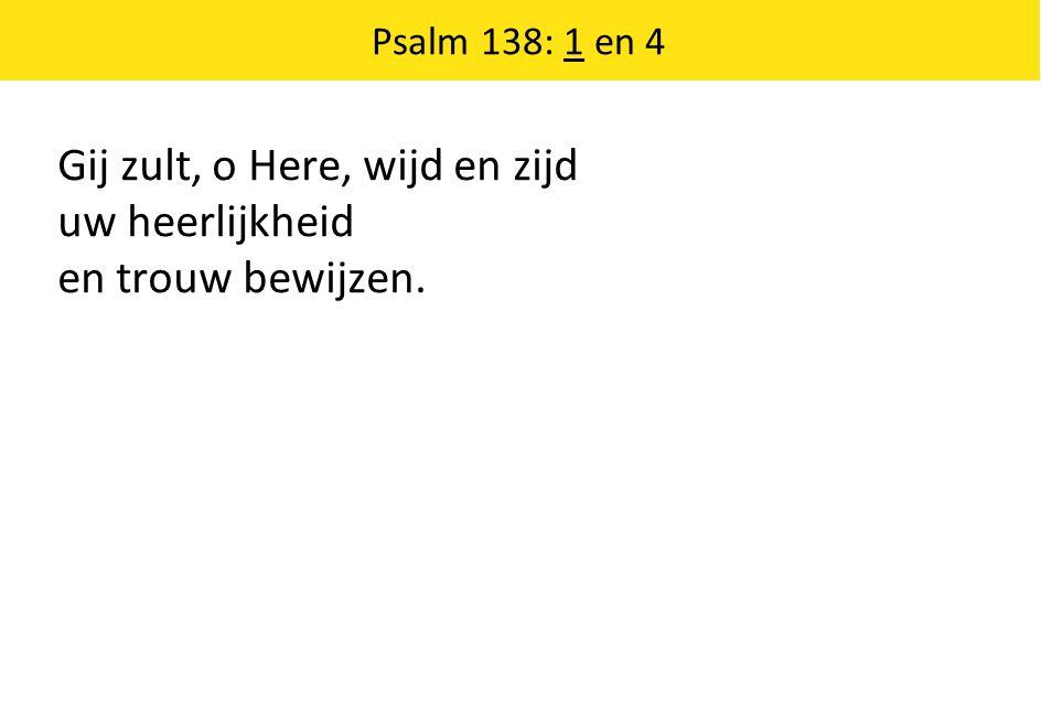 Gij zult, o Here, wijd en zijd uw heerlijkheid en trouw bewijzen. Psalm 138: 1 en 4