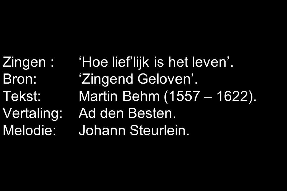 Zingen : 'Hoe lief'lijk is het leven'. Bron:'Zingend Geloven'.