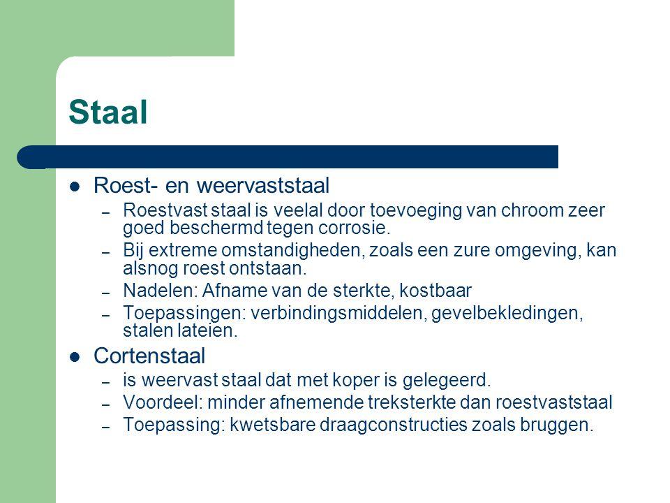 Staal Gietstaal – bevat tussen de 0,2 en 0,5% koolstof – minder broos dan gietijzer – toepassing als knopen voor ruimtevakwerken.