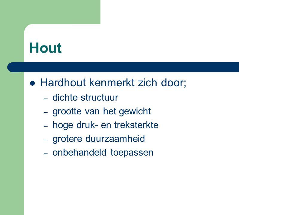 Hout Loofhout wordt opgesplitst in: – europese houtsoorten, bijv.: eiken kastanje tropische houtsoorten, bijv.: – 01. merbau – 02. bankirai