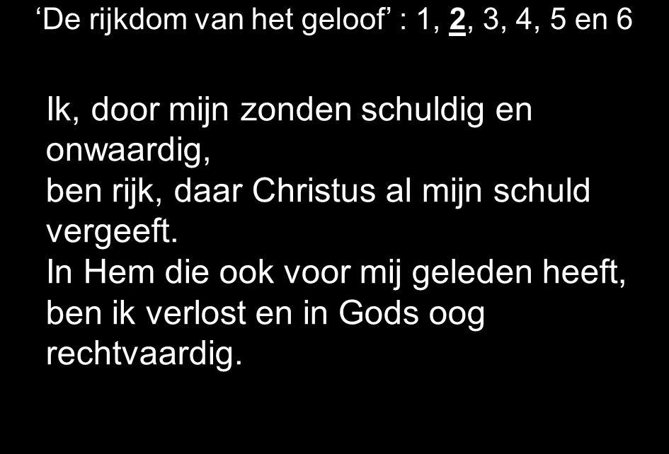 'De rijkdom van het geloof' : 1, 2, 3, 4, 5 en 6 Ik, door mijn zonden schuldig en onwaardig, ben rijk, daar Christus al mijn schuld vergeeft.