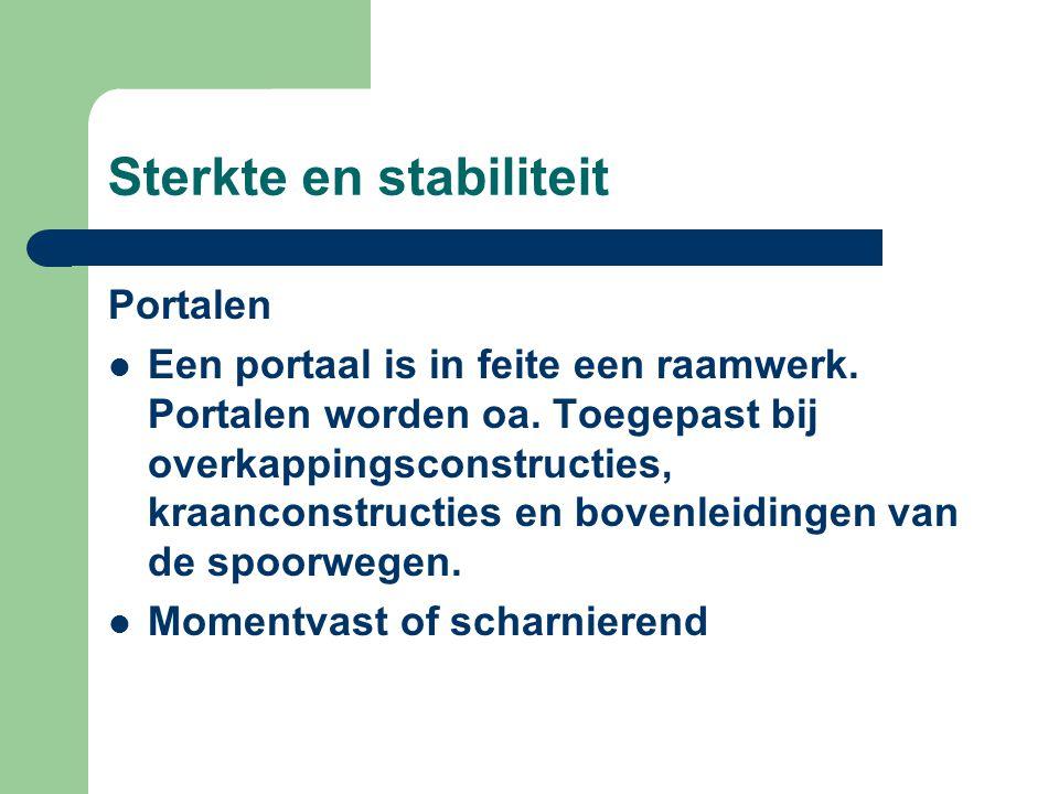 Sterkte en stabiliteit Portalen Een portaal is in feite een raamwerk. Portalen worden oa. Toegepast bij overkappingsconstructies, kraanconstructies en