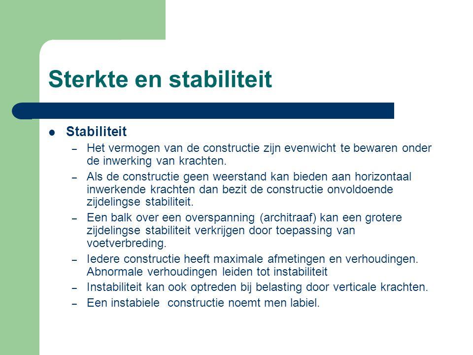 Sterkte en stabiliteit Stabiliteit – Het vermogen van de constructie zijn evenwicht te bewaren onder de inwerking van krachten. – Als de constructie g