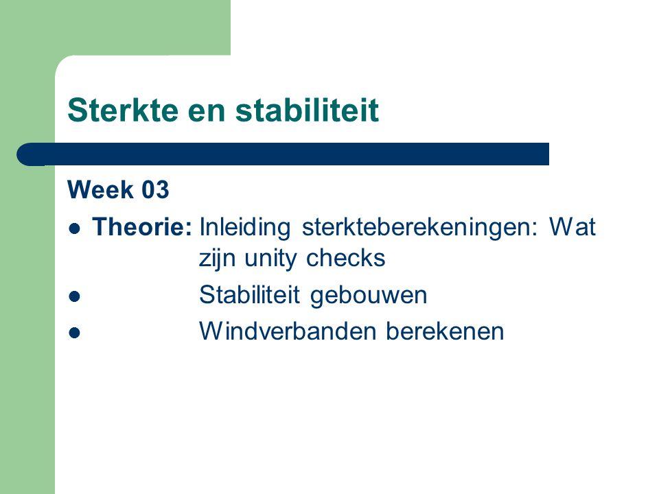 Sterkte en stabiliteit Week 03 Theorie:Inleiding sterkteberekeningen: Wat zijn unity checks Stabiliteit gebouwen Windverbanden berekenen