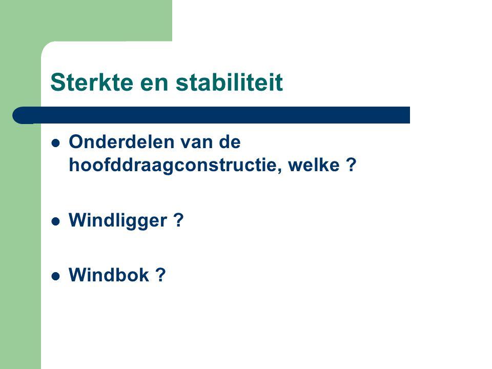 Sterkte en stabiliteit Onderdelen van de hoofddraagconstructie, welke ? Windligger ? Windbok ?