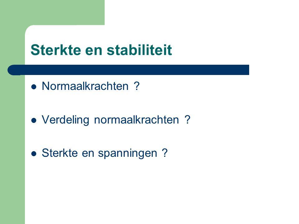 Sterkte en stabiliteit Normaalkrachten ? Verdeling normaalkrachten ? Sterkte en spanningen ?