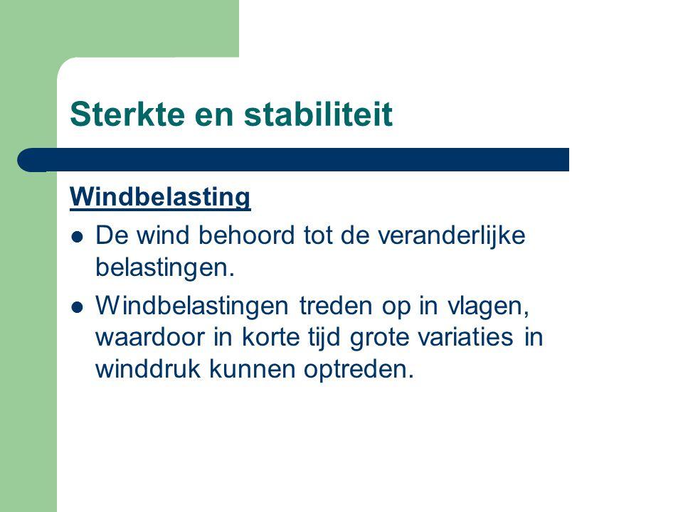 Sterkte en stabiliteit Windbelasting De wind behoord tot de veranderlijke belastingen. Windbelastingen treden op in vlagen, waardoor in korte tijd gro