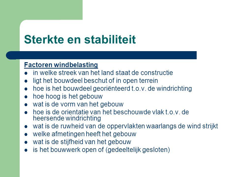 Sterkte en stabiliteit Factoren windbelasting in welke streek van het land staat de constructie ligt het bouwdeel beschut of in open terrein hoe is he