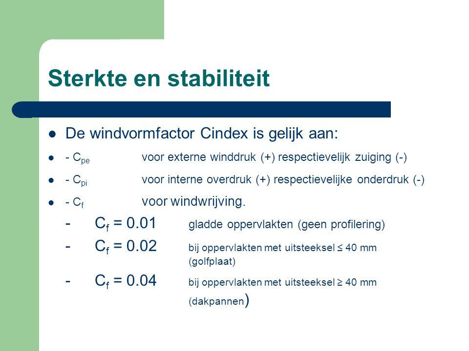 Sterkte en stabiliteit De windvormfactor Cindex is gelijk aan: - C pe voor externe winddruk (+) respectievelijk zuiging (-) - C pi voor interne overdr