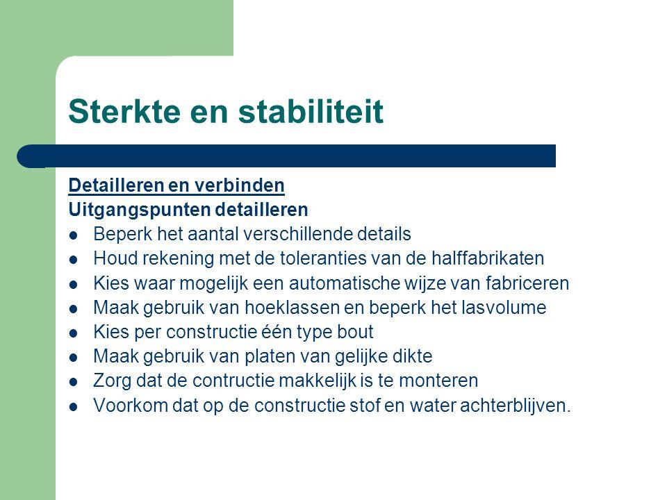 Sterkte en stabiliteit Opnemen windbelasting Draagconstructies moeten in staat zijn windbelasting op te nemen en deze naar de fundering af te voeren.