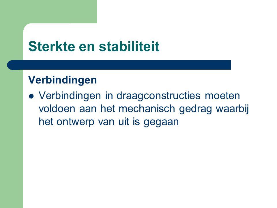 Sterkte en stabiliteit De hoofddraagconstructie brengt de belastingen over naar de fundering