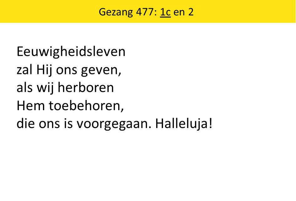 Eeuwigheidsleven zal Hij ons geven, als wij herboren Hem toebehoren, die ons is voorgegaan. Halleluja! Gezang 477: 1c en 2