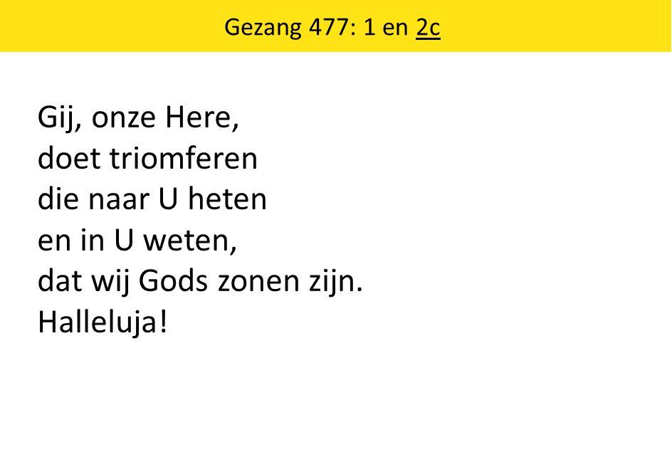 Gij, onze Here, doet triomferen die naar U heten en in U weten, dat wij Gods zonen zijn. Halleluja! Gezang 477: 1 en 2c