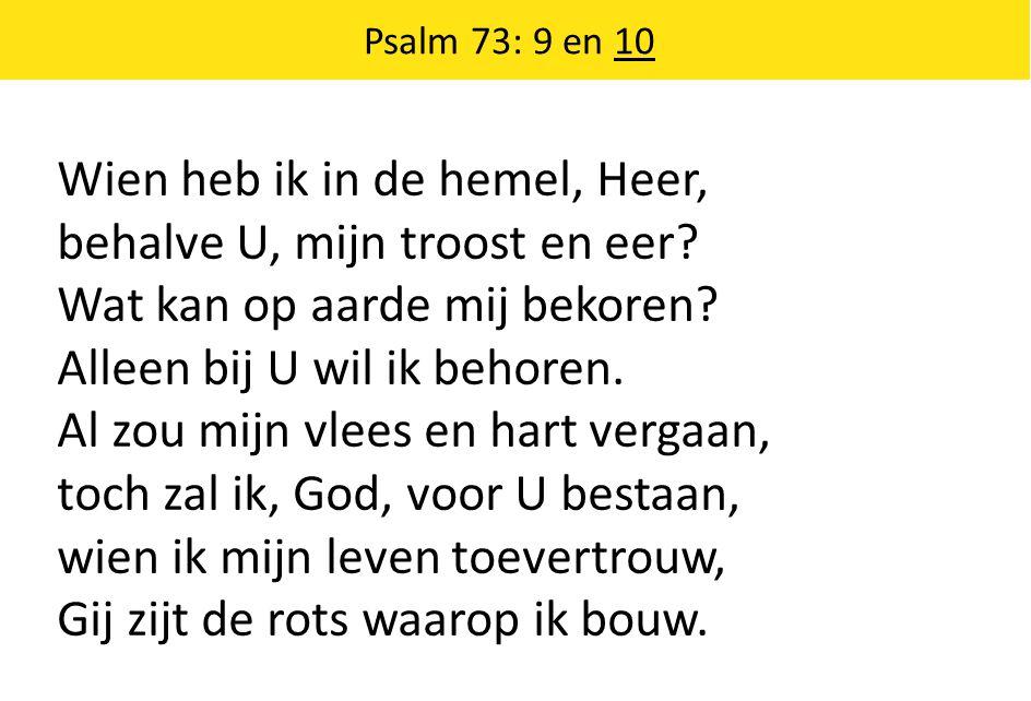 Wien heb ik in de hemel, Heer, behalve U, mijn troost en eer? Wat kan op aarde mij bekoren? Alleen bij U wil ik behoren. Al zou mijn vlees en hart ver