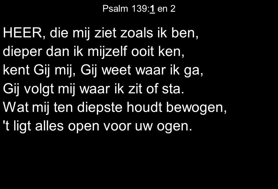 Psalm 139:1 en 2 HEER, die mij ziet zoals ik ben, dieper dan ik mijzelf ooit ken, kent Gij mij, Gij weet waar ik ga, Gij volgt mij waar ik zit of sta.