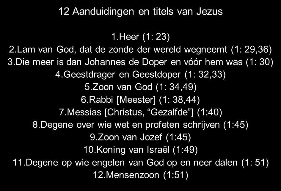 12 Aanduidingen en titels van Jezus 1.Heer (1: 23) 2.Lam van God, dat de zonde der wereld wegneemt (1: 29,36) 3.Die meer is dan Johannes de Doper en vóór hem was (1: 30) 4.Geestdrager en Geestdoper (1: 32,33) 5.Zoon van God (1: 34,49) 6.Rabbi [Meester] (1: 38,44) 7.Messias [Christus, Gezalfde ] (1:40) 8.Degene over wie wet en profeten schrijven (1:45) 9.Zoon van Jozef (1:45) 10.Koning van Israël (1:49) 11.Degene op wie engelen van God op en neer dalen (1: 51) 12.Mensenzoon (1:51)