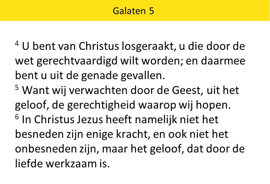 4 U bent van Christus losgeraakt, u die door de wet gerechtvaardigd wilt worden; en daarmee bent u uit de genade gevallen.