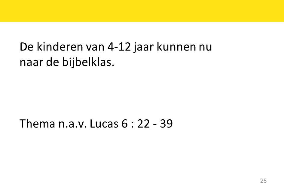De kinderen van 4-12 jaar kunnen nu naar de bijbelklas. Thema n.a.v. Lucas 6 : 22 - 39 25