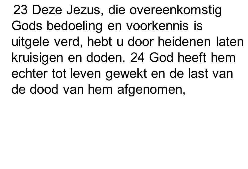 23 Deze Jezus, die overeenkomstig Gods bedoeling en voorkennis is uitgele verd, hebt u door heidenen laten kruisigen en doden. 24 God heeft hem echter
